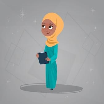 Menina árabe segurar livros pequenos desenhos animados