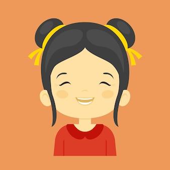 Menina asiática que ri a expressão facial,
