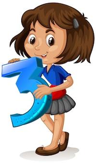 Menina asiática segurando matemática número três