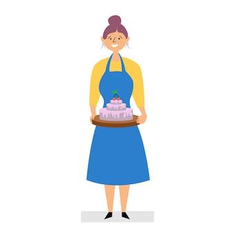 Menina assada bolo em casa