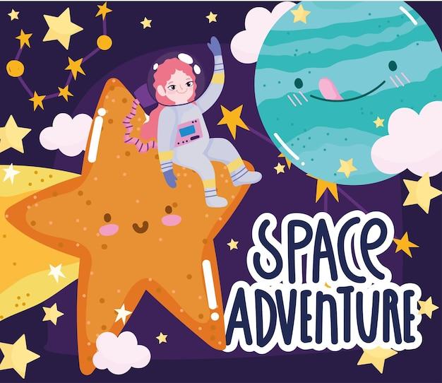 Menina astronauta dos desenhos animados bonitos da aventura no espaço atirando planetas e nuvens estelares