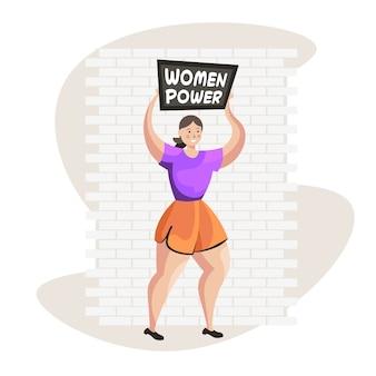 Menina ativista segurando cartaz movimento de empoderamento feminino feminino conceito de poder feminino ilustração vetorial de corpo inteiro