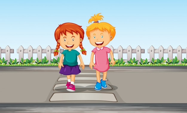 Menina atravessando a faixa de pedestres