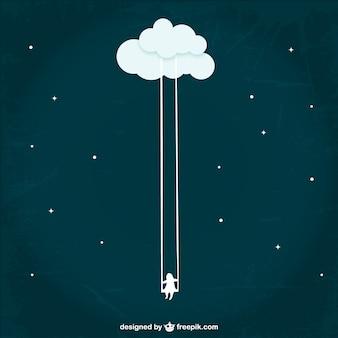 Menina balançando de uma nuvem