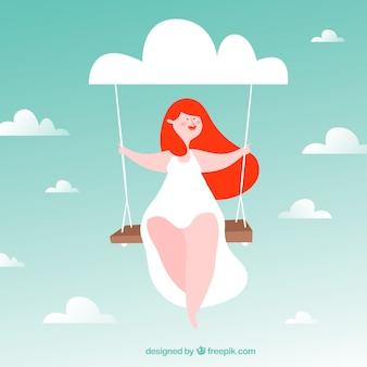 Menina balançando o fundo em um bom dia