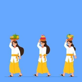 Menina balinesa caminhando trazendo frutas para oferecer
