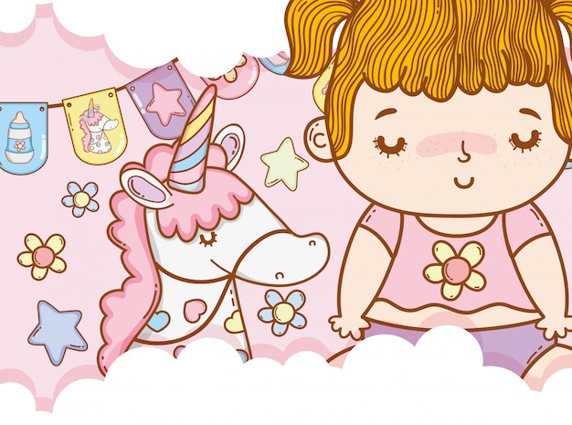 Menina bebê, com, unicorn, e, partido, bandeiras