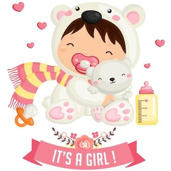 Menina bebê, em, urso polar, traje