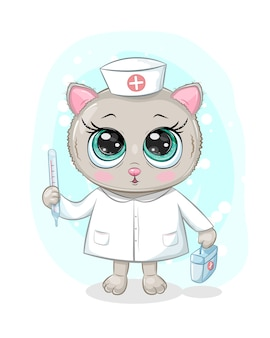 Menina bebê gatinho com olhos grandes, brincando de médico ou enfermeiro, com maleta médica e termômetro, em roupas médicas.