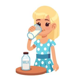 Menina bebe leite. criança feliz dos desenhos animados, bebendo leite de vaca em vidro.