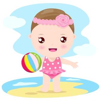 Menina bebê, praia
