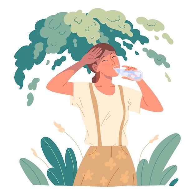 Menina bebendo água para matar sua sede, ela se escondeu do sol escaldante sob uma árvore no calor.