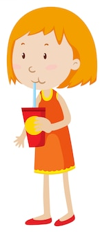 Menina bebendo de um copo