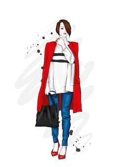 Menina bonita, alta e esbelta com um casaco, calças e óculos elegantes. estilo fashion.