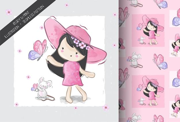 Menina bonita bonito dos desenhos animados com padrão sem emenda de borboleta