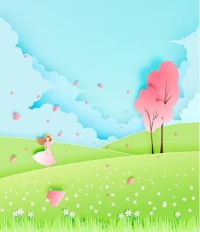 Menina bonita com a árvore da flor de cerejeira na ilustração do vetor do estilo da arte do papel do campo de grama