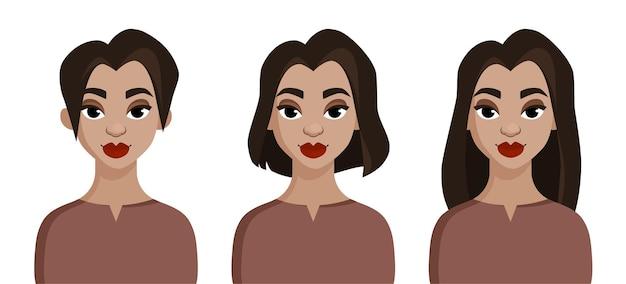 Menina bonita com diferentes estilos de cabelo. tabela de comprimento de cabelo
