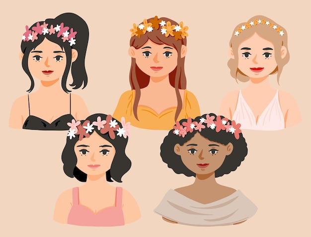 Menina bonita com grinalda de flores ilustração simples e fofa