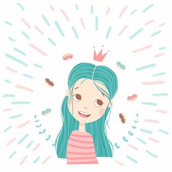 Menina bonita com rosquinhas doces. ilustração dos desenhos animados desenhados à mão, de um personagem bonito com cabelo azul. pequena princesa