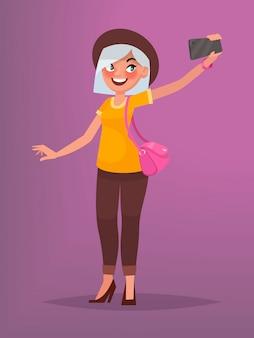 Menina bonita com um chapéu faz selfie. ilustração vetorial no estilo cartoon