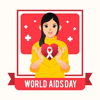 Menina bonita com um coração com o logotipo da aids nas mãos para o pôster da campanha do dia mundial da aids