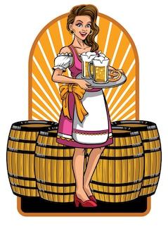 Menina bonita de oktoberfest apresentando cervejas