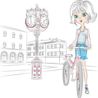 Menina bonita de vetor com bicicleta