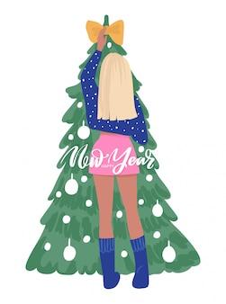 Menina bonita, decorar a árvore de natal com enfeites e guirlandas.