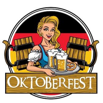 Menina bonita do design oktoberfest apresentando as cervejas