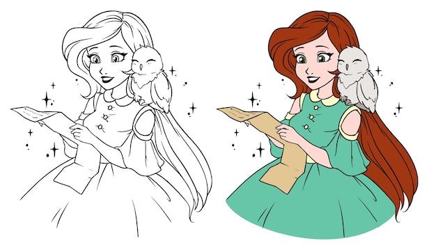 Menina bonita dos desenhos animados com adorável coruja.
