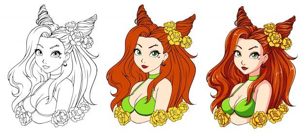 Menina bonita dos desenhos animados com cabelo vermelho ondulado, vestindo grinalda e maiô verde.