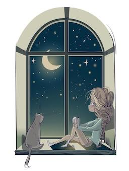 Menina bonita dos desenhos animados com o gato e a lua à noite