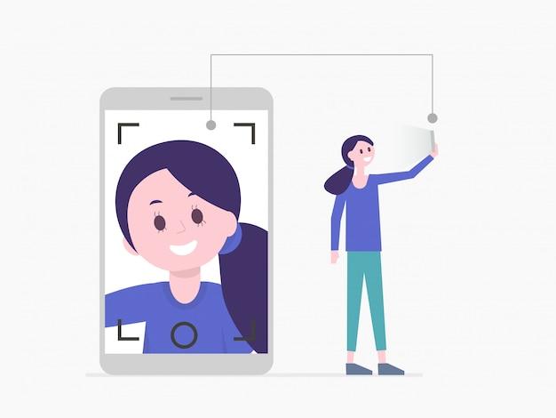 Menina bonita dos desenhos animados, tendo selfie no smartphone ou ter chamada de vídeo