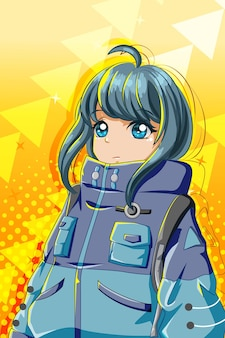 Menina bonita e fofa com ilustração de desenho de personagem de jaqueta grande