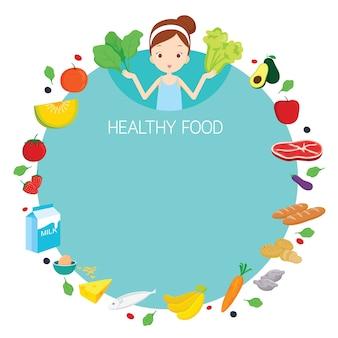 Menina bonita e ícones de objetos de comida úteis na moldura redonda, comida saudável