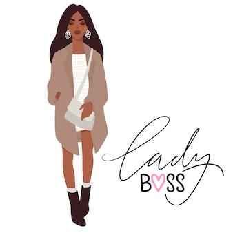 Menina bonita elegante em roupas da moda com a bolsa. senhora chefe.
