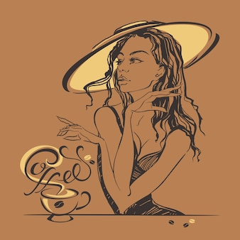 Menina bonita elegante em um café bebendo do chapéu.