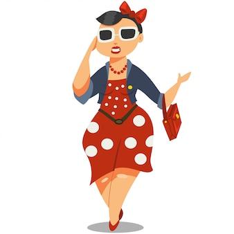 Menina bonita em óculos de sol e um personagem de desenho animado de vestido vermelho