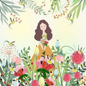 Menina bonita feliz com jardim de flor.