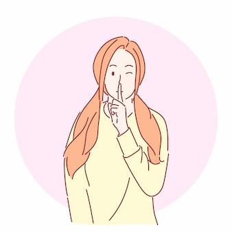 Menina bonita gesticulando para ficar quieto, conceito desenhado à mão