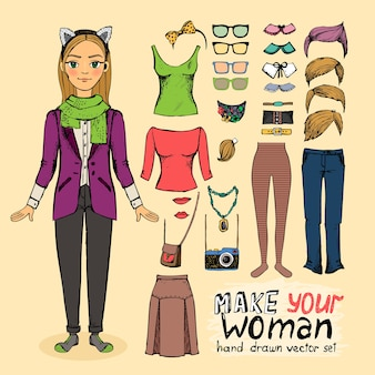 Menina bonita hippie com acessórios: jabot de óculos de penteados