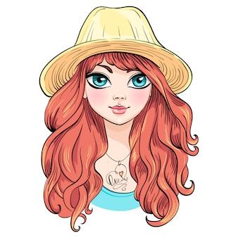 Menina bonita moda chapéu