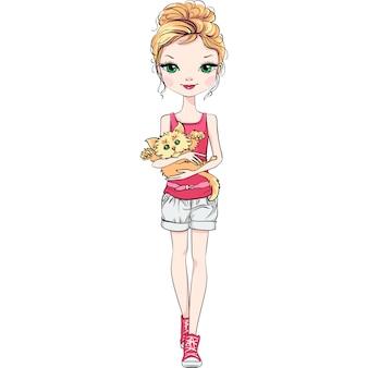 Menina bonita moda com gato