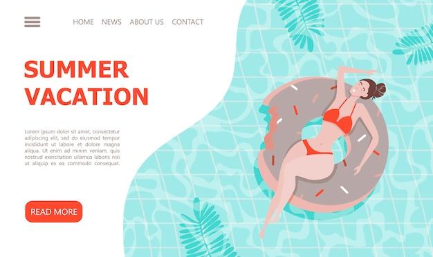 Menina bonita no flutuador de piscina inflável. modelo de página de destino.