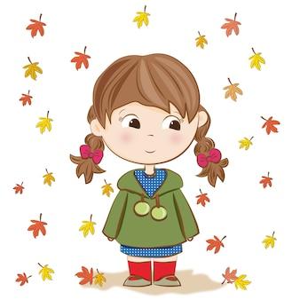 Menina bonita no outono
