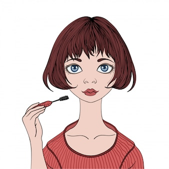 Menina bonita pinta rímel de cílios. jovem mulher fazendo maquiagem. ilustração do retrato, em fundo branco.