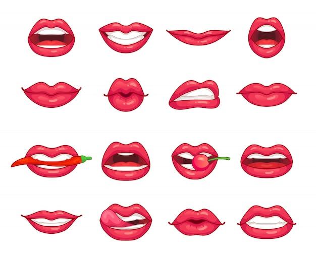 Menina bonita sorrindo, beijando, mordendo pimenta