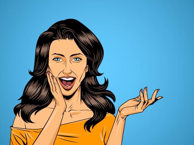 Menina bonita surpresa em quadrinhos sobre fundo de meio-tom