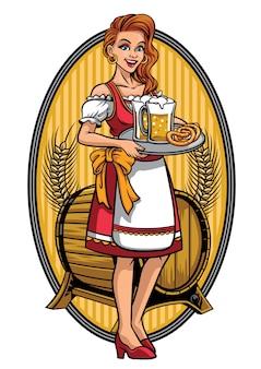 Menina bonita vestindo drindl apresentando cervejas