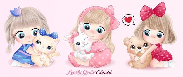 Menina bonitinha abraçando animais com ilustração em aquarela